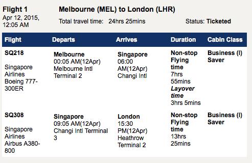 Singapore Melbourne - London flight details