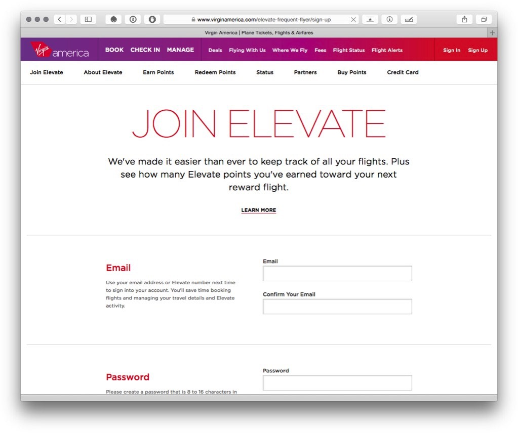 Join Virgin America Elevate