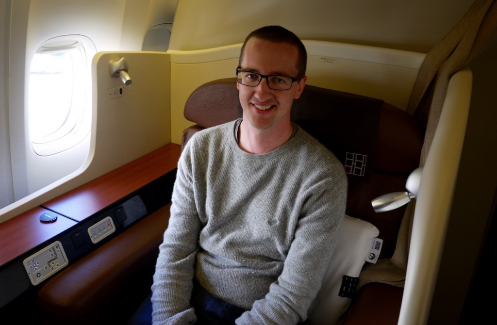 Me in Japan Airlines First Class