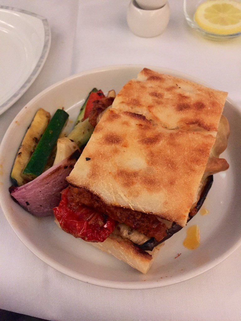 Roasted Vegetable Turkish Bread Sandwich - Singapore Airlines A380 Business Class