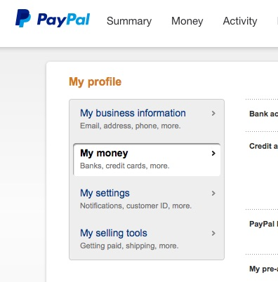 how to get money from paypal account to credit card