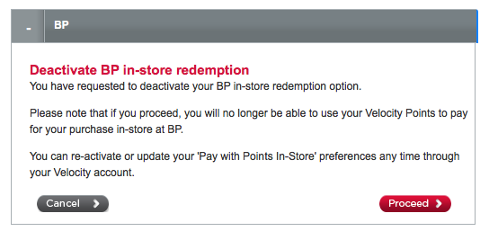 Velocity Pay with Points at BP deactivate 2