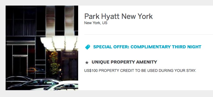 Park Hyatt NYC FHR Special Offer