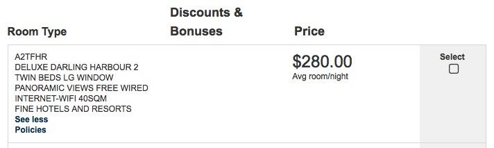 Shangri La Sydney FHR Pricing
