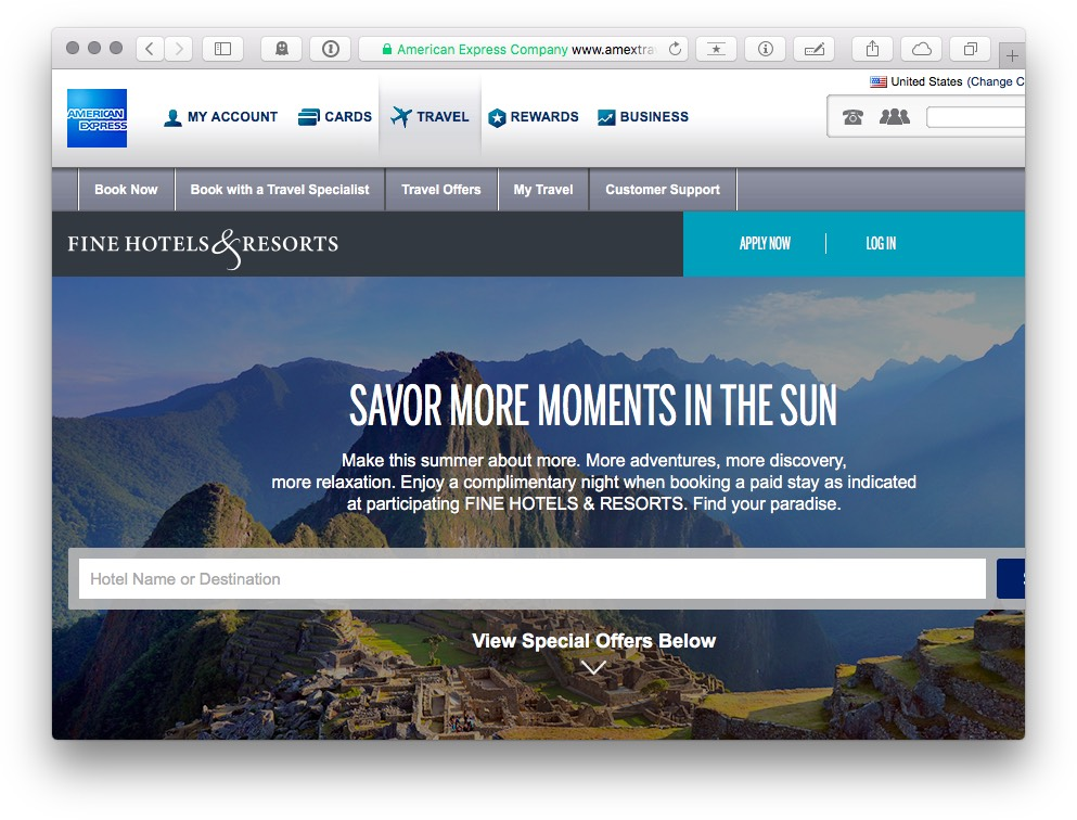 Amex Travel US Website
