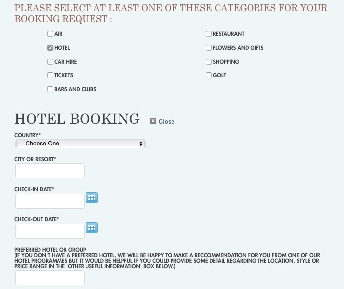 Amex Travel Hotel Concierge Enquiry