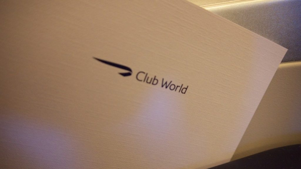 British Airways Club World menu
