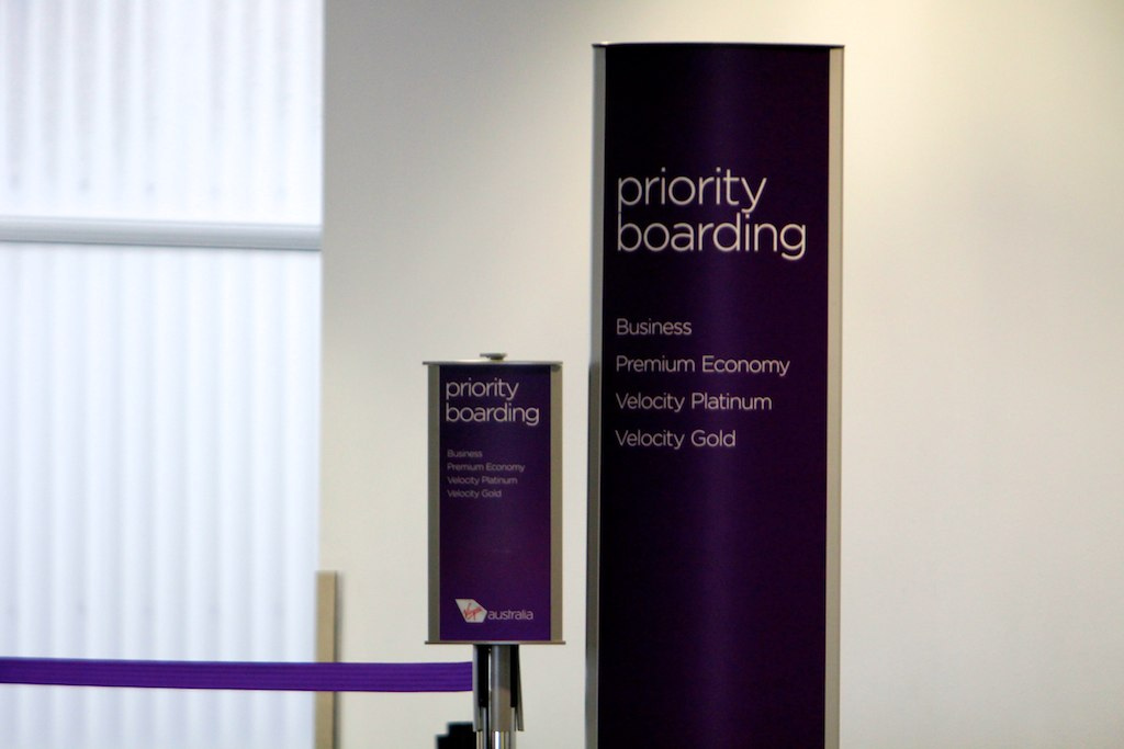 Virgin Australia priority boarding sign