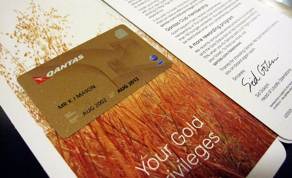 Qantas Gold Card Welcome Letter