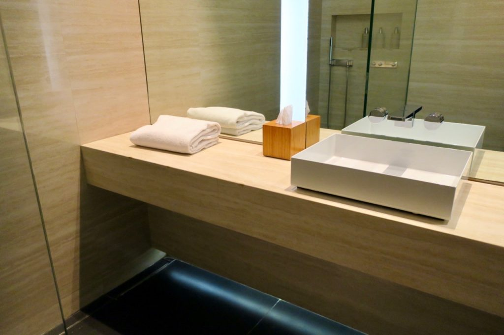 Cathay Pacific The Wing First Class lounge bathroom