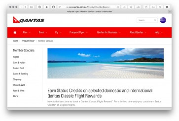 Qantas offering status credits on classic award redemptions until October 6th