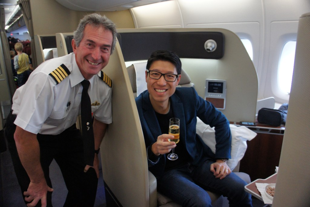 Steve Hui in Qantas A380 First Class