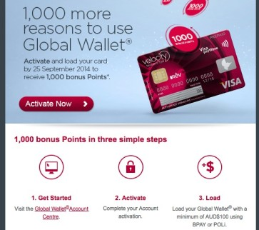 Virgin Australia offering 1,000 Velocity Points for activating and loading your Velocity Global Wallet account
