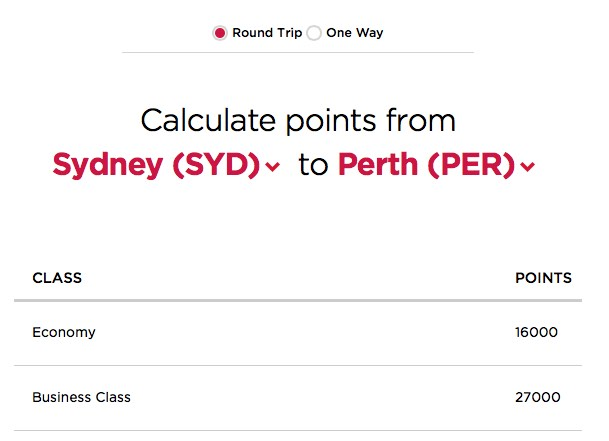 Virgin America SYD-PER rates