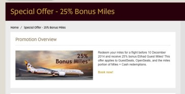 Etihad Guest offering 25% points back on redemptions made before December 10th