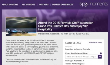 SPG Moments release Melbourne Grand Prix VIP experiences