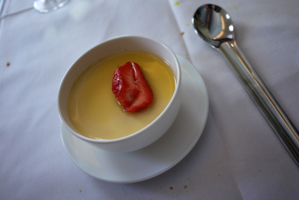 17 Qantas A380 First Class Lunch - Caramel Crème with Strawberries