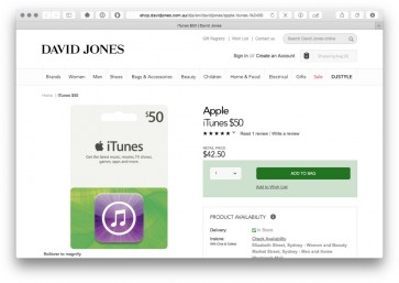 David Jones offering bonus points for cardholders & iTunes cards (still) on sale