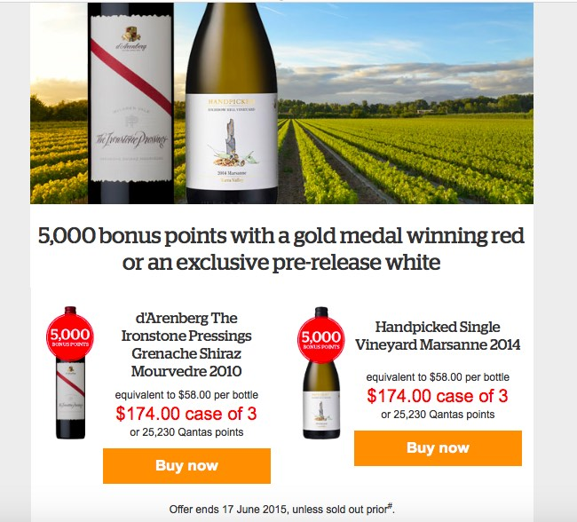 Qantas Wine Offer Email