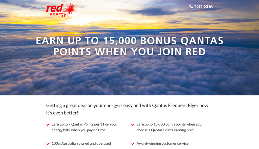 Earning Qantas Points with Red Energy