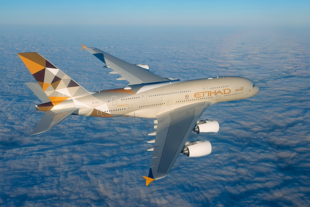 Etihad Airways Airbus A380 in flight | Point Hacks