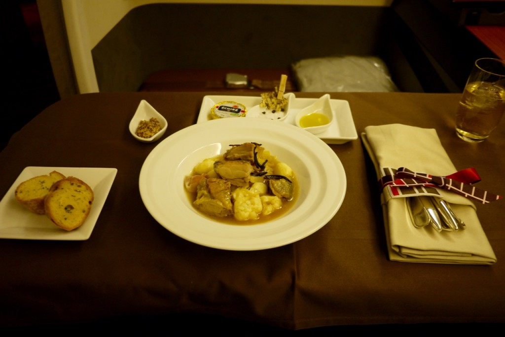 Japan Airlines JL771 First Class food