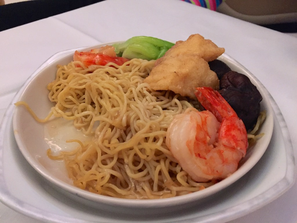 Seafood Noodle snack - Singapore Airlines A380 Business Class | Point Hacks