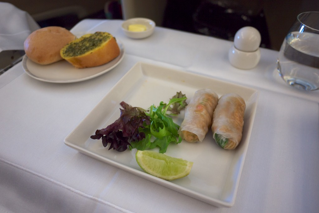 Crab Rice Paper Rolls - Singapore Airlines A380 Business Class | Point Hacks