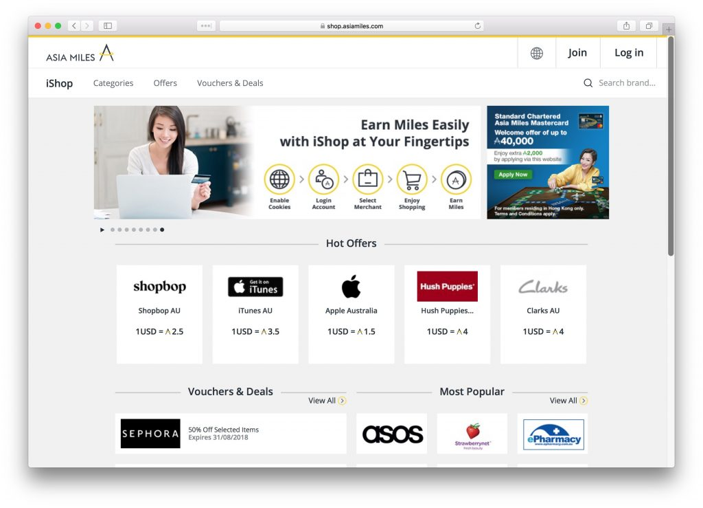 Earn Asia Miles by shopping online with Asia Miles iShop and other partners | Point Hacks