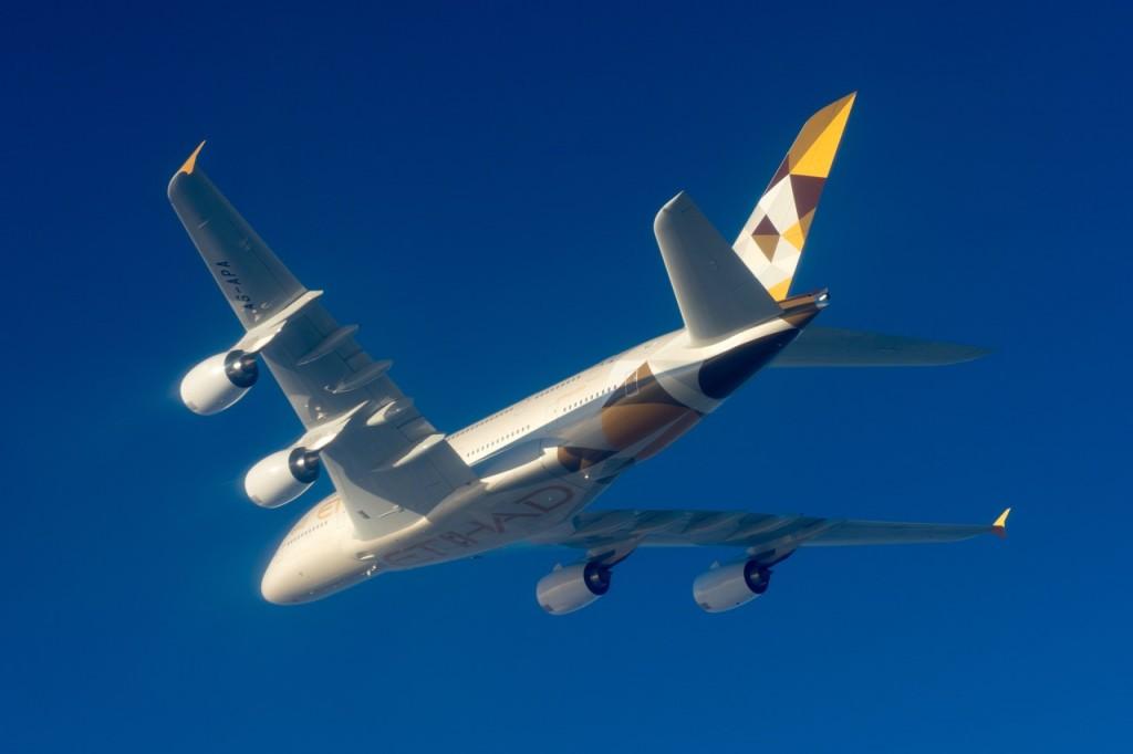 Etihad Airways A380 in flight | Point Hacks