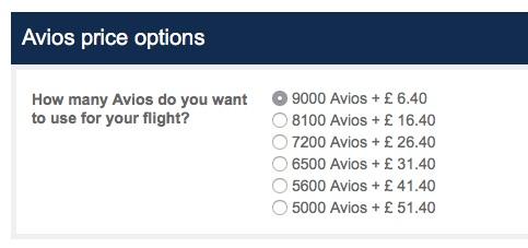 BA Avios top up