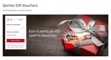 Qantas returns with offer of 5 Qantas points per $ spent on gift vouchers until end of year