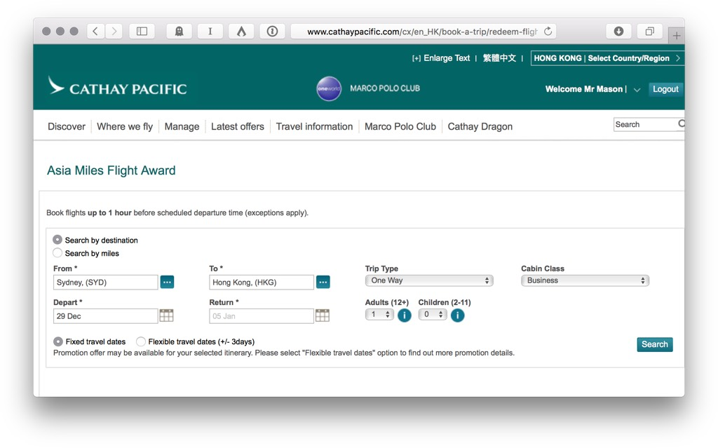Asia Miles Input Search   Point Hacks
