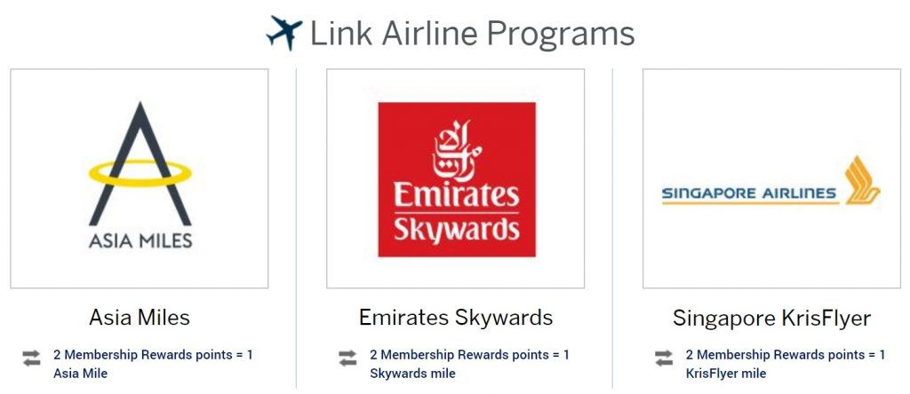 Amex Membership Rewards linked airline programs