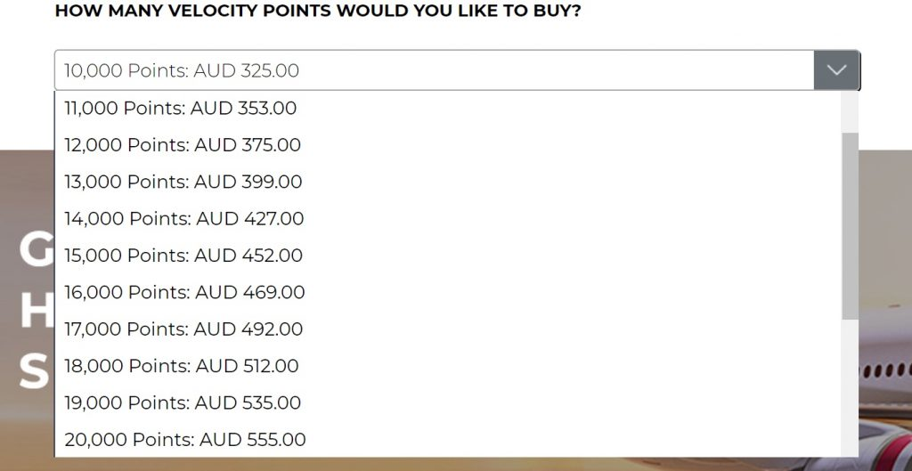 Purchasing Velocity Points
