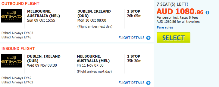 Flight Deal EY MEL-DUB