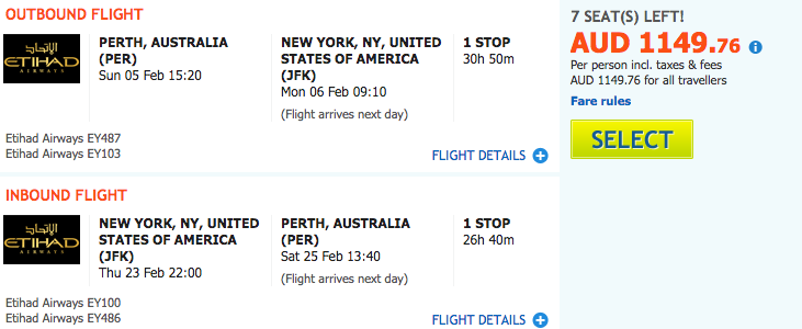 Flight Deal EY PER-NYC