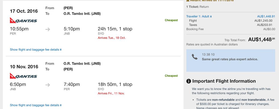 Qantas sale PER-JNB