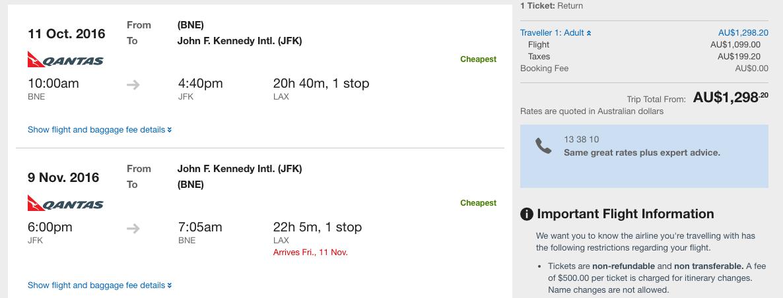 Qantas sale BNE-JFK