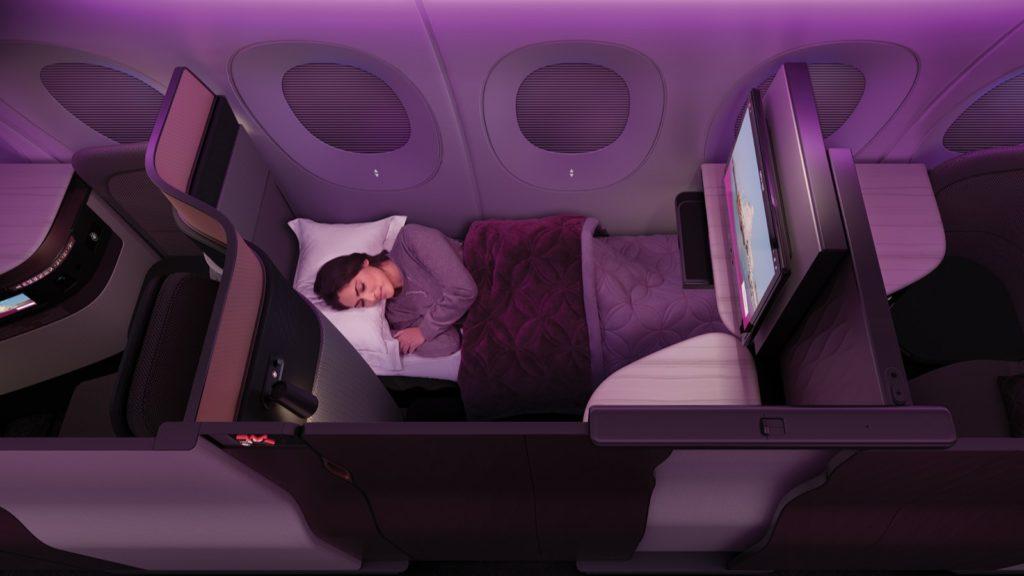 Qatar Airways Qsuites Sleeping