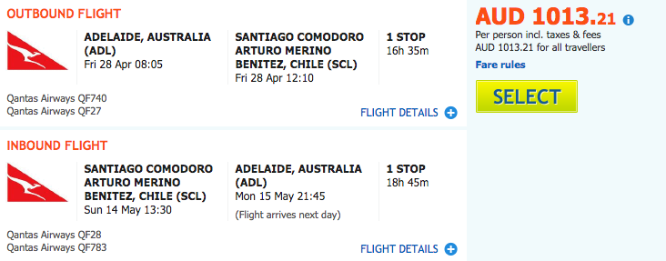 Flight Deal Qantas ADL-SCL