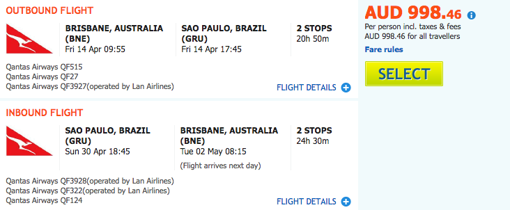Flight Deal Qantas BNE-GRU