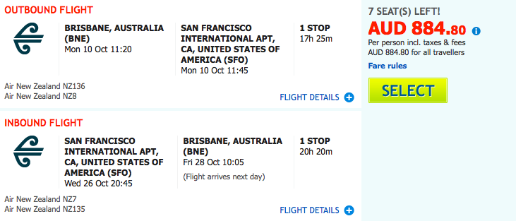 Flight Deal Air NZ BNE-SFO