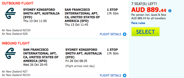 Flight Deal Air NZ SYD-SFO