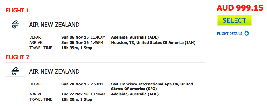 Flight Deal Air NZ ADL-IAH-SFO-ADL