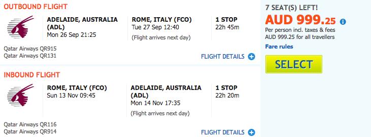 Flight Deal ADL-FCO QR