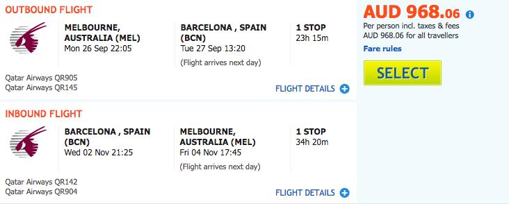 Flight Deal MEL-BCN QR