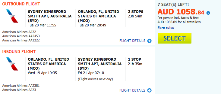 Flight Deal AA SYD-MCO