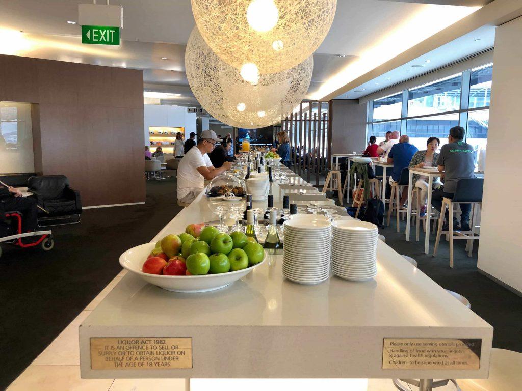 Qantas International Business Lounge Sydney table