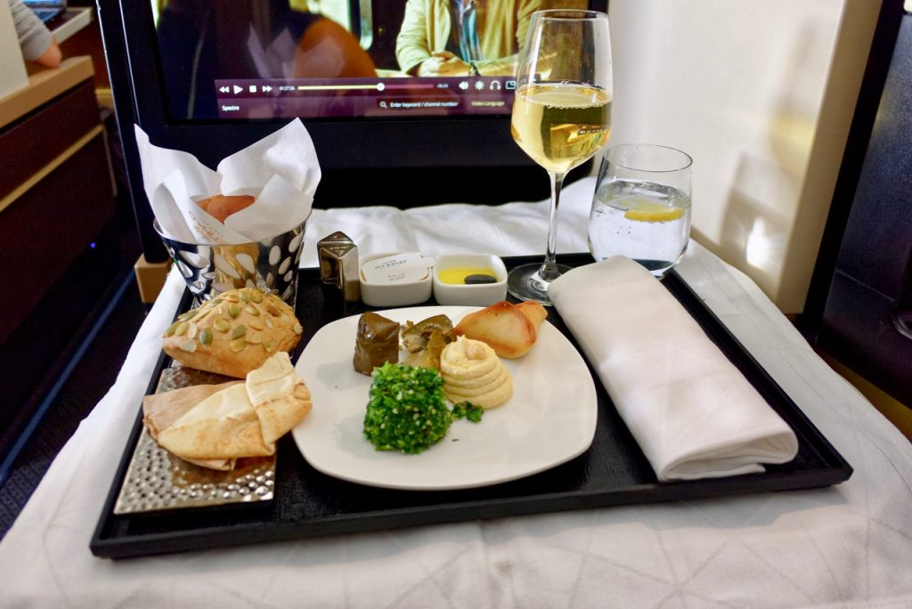 Etihad A380 Business Class Dining
